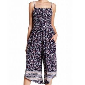 Mimi Chica Smocked Floral Jumpsuit Cottagecore